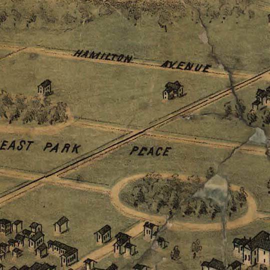 Birdseye map of Columbus by Bailey in 1872 image detail