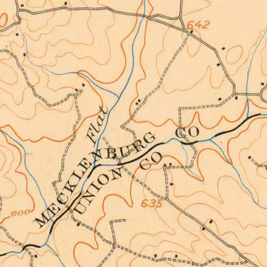 USGS Topographic Map of Charlotte in 1907 image detail