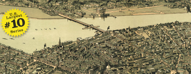 Birdseye map of Boston by Walter in 1899 wide thumbnail image