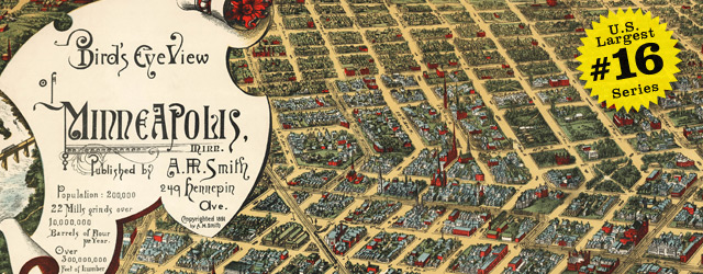 Birdseye map of Minneapolis by Smith in 1891 wide thumbnail image