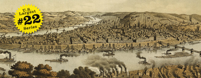Birdseye map of Pittsburgh by Krens in 1874 wide thumbnail image