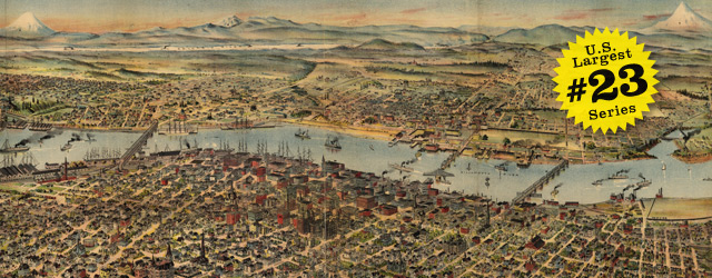 Birdseye map of Portland by Wood in 1890 wide thumbnail image