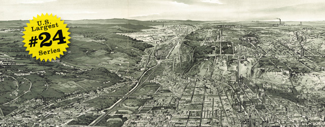 Birdseye map of Cincinnati by Henderson in 1900 wide thumbnail image