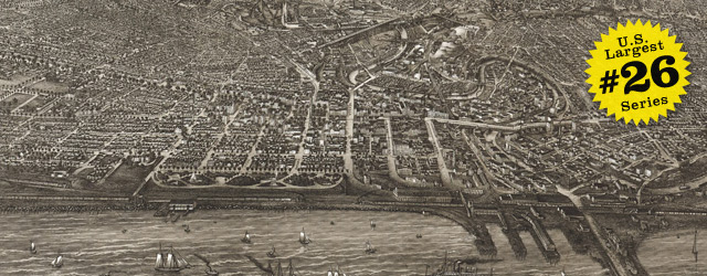 Birdseye map of Cleveland by Vogt in 1887 wide thumbnail image