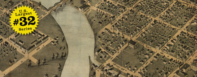 Birdseye map of Columbus by Bailey in 1872 wide thumbnail image