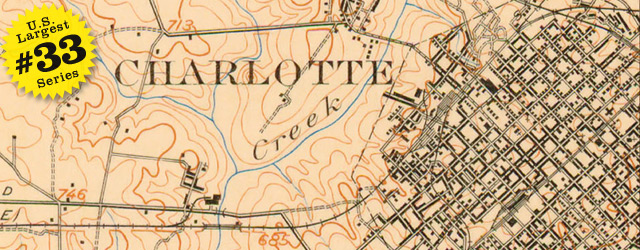 USGS Topographic Map of Charlotte in 1907 wide thumbnail image