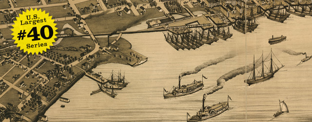 Birdseye map of Jacksonville by Koch in 1874 wide thumbnail image