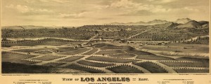 E.S. Glover's birdseye Map of Los Angeles, California, from 1877. x View of Los Angeles from the east – Birdseye Map Date: 1877 Author: E.S. Glover Dwnld: Full Size (11.9mb) Print Availability: See our Prints Page for more details pff This map isn't part of any series, but we have other Southern California maps that you might want to check out. Glover's birdseye map of Los Angeles [gmap] in 1877. For...