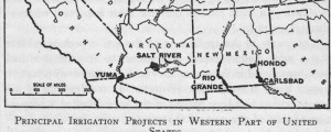 Appleton&#039;s map of the American West showing the major irrigation projects of 1919. x Irrigation projects in American West Date: 1919 Author: D. Appleton and company Dwnld: Full Size (11.4mb) Print Availability: See our Prints Page for more details pff I do not know anything about irrigation in the west. But I would like to learn more about it. If you can help me decipher this, or point me to...