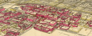 "Rascher's birdseye view of the Chicago meatpacking district in 1890. Birdseye View of the Chicago Meatpacking District and Stockyards Date: 1890 Author: Charles Rascher Dwnld: Full Size (12.2mb) Source: LoC: pm001494 Print Availability: See our Prints Page for more details pff This map isn't part of any series, but we have other Illinois maps that you might want to check out. Fans of Upton Sinclair's novel ""the Jungle"" will want..."