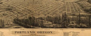 E.S. Glover&#039;s birdseye map of Portland, Oregon in 1879. Birdseye view of Portland, Oregon Date: 1879 Author: E.S. Glover Dwnld: Full Size (13.7mb) Print Availability: See our Prints Page for more details pff This map isn&#039;t part of any series, but we have other Oregon maps that you might want to check out. Glover&#039;s Portland, Oregon&nbsp;[gmap] is dominated by beautifully-rendered fir trees, and is bisected across the frame by the...