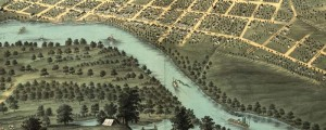 A. Ruger's Birdseye map of Mankato, Minnesota in 1870. Birdseye view of Mankato, Minnesota Date: 1870 Author: A. Ruger Dwnld: Full Size (10.6mb) Print Availability: See our Prints Page for more details pff This map isn't part of any series, but we have other featured maps that you might want to check out. Al Ruger depicts Mankato, Minnesota [gmap] as a busy riverport on the Minnesota River. All types of riverine...