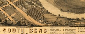 A. Ruger's Birdseye map of South Bend, Indiana, in 1874. Birdseye view of South Bend, Ind. Date: 1874 Author: A. Ruger Dwnld: Full Size (10.2mb) Print Availability: See our Prints Page for more details pff This map isn't part of any series, but we have other featured maps that you might want to check out. Ruger's birdseye map of South Bend, Indiana [gmap] in 1874. For more maps and images from...