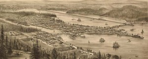 E.S. Glover's birdseye map of Olympia, Washington in 1879. Birdseye view of Olympia, Washington Date: 1879 Author: E.S. Glover Dwnld: Full Size (8.3mb) Print Availability: See our Prints Page for more details pff This map isn't part of any series, but we have other Washington maps that you might want to check out. Thousands of boats? Mile-long railroads on docks? What the hell is going on, Olympia, Washington [gmap], and why...
