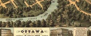 E.S. Glover's birdseye view of Ottawa, Kansas in 1872. Birdseye view of Ottawa, the largest city of its age in Kansas Date: 1872 Author: E.S. Glover Dwnld: Full Size (12.6mb) Print Availability: See our Prints Page for more details pff This map isn't part of any series, but we have other featured maps that you might want to check out. A richly-drawn bidseye by E.S. Glover depicting Ottawa, Kansas [gmap] in...