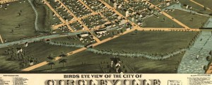 A. Ruger's birdseye view of Circleville, Ohio in 1876. Birdseye view of Circleville, Ohio Date: 1876 Author: A. Ruger Dwnld: Full Size (10.2mb) Print Availability: See our Prints Page for more details pff This map isn't part of any series, but we have other maps of Ohio that you might want to check out. This Ruger litho of Circleville, Ohio [gmap] is perfectly fine in all respects, but the real star...