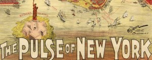 Taylor&#039;s promotional map for the Pulse of New York, in 1891. Gracie Emmet in her great play  the Pulse of New York Date: 1891 Author: Howard P. Taylor Dwnld: Full Size (15.8mb) Print Availability: See our Prints Page for more details pff This map isn&#039;t part of any series, but we have other New York City maps that you might want to check out. Taylor&#039;s promotional map of Manhattan&nbsp;[gmap]...