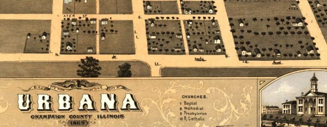 A. Ruger's Birdseye map of Urbana, Illinois from 1869. Birdseye view of Urbana, Ill. Date: 1869 Author: A. Ruger Dwnld: Full Size (7.2mb) Print Availability: See our Prints Page for more details pff This map isn't part of any series, but we have other Illinois maps that you might want to check out. Ruger's birdseye map of Urbana, Illinois[gmap] in 1869. For more maps and images from this period in...