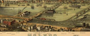 A. Ruger's birdseye view of Toledo, Ohio in 1876. Toledo, Ohio Date: 1876 Author: A. Ruger Dwnld: Full Size (6.3mb) Print Availability: See our Prints Page for more details pff This map isn't part of any series, but we have other Ohio maps that you might want to check out. Ruger's birdseye map of Toledo, Ohio [gmap] in 1876. For more maps and images from this period in the region's history,...