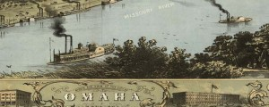 A. Ruger's birdseye view of Omaha, Nebraska from 1868. Birdseye view of Omaha, Nebraska Date: 1868 Author: A. Ruger Dwnld: Full Size (12.2mb) Print Availability: See our Prints Page for more details pff This map isn't part of any series, but we have other Featured maps that you might want to check out. A handsome birdseye map of Omaha, Nebraska [gmap] by Ruger in 1868. I'm curious; was the impounded lake...