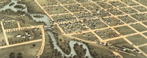 A. Ruger's birdseye map of Reedsburg, Wisconsin in 1874. Birdseye view of Reedsburg, Wisconsin Date: 1874 Author: A. Ruger Dwnld: Full Size (5.6mb) Print Availability: See our Prints Page for more details pff This map isn't part of any series, but we have other Wisconsin maps that you might want to check out. A. Ruger's birdseye map of Reedsburg, Wisconsin [gmap] shows a charming attention paid to the winding Baraboo River....