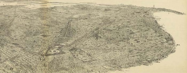 Geo. Welch's birdseye map of the borough of Brooklyn in 1897. x Birdseye view of the borough of Brooklyn Date: 1897 Author: Geo. Welch Dwnld: Full Size (16.0mb) Print Availability: See our Prints Page for more details pff This map isn't part of any series, but we have other New York City maps that you might want to check out. George Welch's birdseye map of Brooklyn [gmap] in 1897. For more...