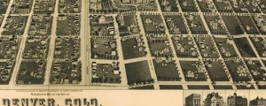H. Wellge's birdseye map of the City of Denver from 1889. Perspective Map of the City of Denver Date: 1889 Author: H. Wellge Dwnld: Full Size (19.7mb) Print Availability: See our Prints Page for more details pff This map isn't part of any series, but we have other featured maps that you might want to check out. Wellge's birdseye map of Denver [gmap] in 1889. For more maps and images from...