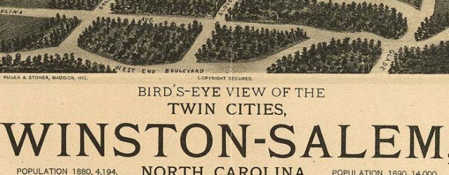 Ruger and Stoner's birdseye map of Winston-Salem, North Carolinia in 1891. Birdseye View of Winston-Salem, North Carolina Date: 1891 Author: Ruger and Stoner Dwnld: Full Size (16.8mb) Print Availability: See our Prints Page for more details pff Ruger's birdseye map of Winston-Salem, North Carolina [gmap] in 1891. For more maps and images from this period in the region's history, visit the North Carolina Office of Archives and History.