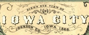 A. Ruger's Birdseye map of Iowa City, Iowa in 1868. Birdseye view of Iowa City, Iowa Date: 1868 Author: A. Ruger Dwnld: Full Size (13.6mb) Print Availability: See our Prints Page for more details pff This map isn't part of any series, but we have other featured maps that you might want to check out. An Albert Ruger birdseye map of Iowa City, Iowa [gmap]. One thing I noticed was the...
