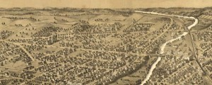 A. Ruger's Birdseye map of Ypsilanti, Michigan in 1869. Birdseye view of Ypsilanti, Michigan Date: 1869 Author: A. Ruger Dwnld: Full Size (10.1mb) Print Availability: See our Prints Page for more details pff Ruger's birdseye map of Ypsilanti, Michigan [gmap] in 1869. For more maps and images from this period in the region's history, visit the Historical Society of Michigan.
