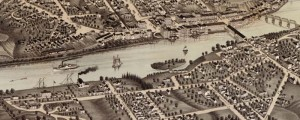 A. Ruger's Birdseye map of Augusta, Maine in 1879. Birdseye view of Augusta, Maine Date: 1879 Author: A. Ruger Dwnld: Full Size (9.0mb) Print Availability: See our Prints Page for more details pff This map isn't part of any series, but we have other Maine maps that you might want to check out. Decent late-period Ruger print of Augusta, Maine [gmap] with some nice small touches. Among them: the delicate spandrels...