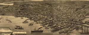 H. Wellge's birdseye map of Seattle, Washington in 1884. Birdseye view of Seattle – 1884 Date: 1884 Author: H. Wellge Dwnld: Full Size (12.8mb) Print Availability: See our Prints Page for more details pff Beck & Pauli's birdseye map of Seattle [gmap], Washington Territory, in 1884. For more maps and images from this period in the region's history, visit the Washington State Historical Society.