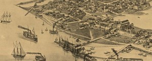 "J.J. Stoner's birdseye view of Cedar Key, Florida in 1884. x Birdseye view of Cedar Key, Florida Date: 1884 Author: J.J. Stoner Dwnld: Full Size (4.7mb) Print Availability: See our Prints Page for more details pff My first thought when I saw this Stoner litho of Cedar Key, Florida [gmap] was ""Wow, sure is a lot of industry going on there, what's that about"". Even after seeing all the little stacked […]"