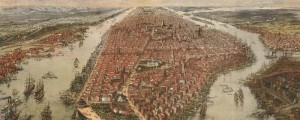 John Bachmann's birdseye map of New York and Environs in 1866. x Birdseye View of New York and Environs – Bachmann Date: 1866 Author: John Bachmann Dwnld: Full Size (7.0mb) Print Availability: See our Prints Page for more details pff This map isn't part of any series, but we have other New York City maps that you might want to check out. This view of Manhattan from the south with...