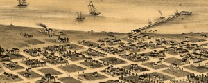 E.S. Glover's birdseye map of San Diego from 1876. x Birdseye View of San Diego Date: 1876 Author: E.S. Glover Dwnld: Full Size (9.6mb) Print Availability: See our Prints Page for more details pff This map isn't part of any series, but we have other Southern California maps that you might want to check out. Glover's San Diego [gmap] looks sleepy and fun. It's very strange to see (what I'm assuming...