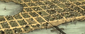 A. Ruger's Birdseye map of Hastings, Minnesota in 1867. Birdseye view of Hastings, Minnesota Date: 1867 Author: A. Ruger Dwnld: Full Size (6.5mb) Print Availability: See our Prints Page for more details pff Ruger's Birdseye map of Hastings, Minnesota [gmap] from 1867. (Waaaaiiit a second, Ruger. How did that steamboat get under that bridge?) Hastings is on U.S. Route 61 -- a road that for many reasons looms large in the […]