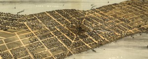 A. Ruger's birdseye map of Madison, Wisconsin in 1876. Birdseye view of Madison, Wisconsin Date: 1876 Author: A. Ruger Dwnld: Full Size (10.7mb) Print Availability: See our Prints Page for more details pff This map isn't part of any series, but we have other Wisconsin maps that you might want to check out. I hadn't realized that Madison, Wisconsin [gmap] is such a pleasing isthmus before I came across this print...