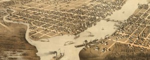 A. Ruger's birdseye map of Green Bay, Wisconsin in 1867. Birdseye view of Green Bay, Wisconsin Date: 1867 Author: A. Ruger Dwnld: Full Size (11.0mb) Print Availability: See our Prints Page for more details pff Handsome but otherwise unremarkable very early Ruger litho of Green Bay, Wisconsin [gmap] For more maps and images from this period in the region's history, visit the Wisconsin Historical Society.