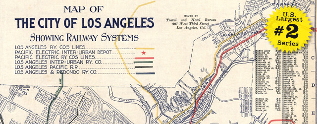 Map Of Los Angeles California Rail Systems 1906
