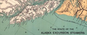 Charles S. Fee's map of routes of Alaska excursion steamers from 1891. Map of Alaska Excursion Steamer Routes Date: 1891 Author: Fee, Charles S. Dwnld: Full Size (11.1mb) Print Availability: See our Prints Page for more details pff This map isn't part of any series, but we have other featured maps that you might want to check out. Just in time for Alaska's gold rush, several private transportation interests, such...
