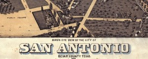 Bird's Eye View of the City of San Antonio Bexar County Texas, 1873. Koch's map of San Antonio (1873) Date: 1873 Author: Augustus Koch Dwnld: Full Size (16.31mb) Source: Wikimedia Commons Print Availability: See our Prints Page for more details pff This map isn't part of any series, but we have other maps of Texas that you might want to check out. Augustus Koch's birdseye map of San Antonio, Texas [gmap]...