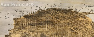 Birdseye view of San Francisco and surrounding country. Goddard&#039;s map of San Francisco (1876) Date: 1876 Author: G.H. Goddard Dwnld: Full Size (22.0mb) Source: Library of Congress Print Availability: See our Prints Page for more details pff This map isn&#039;t part of any series, but we have other maps of the Bay Area that you might want to check out. G.H. Goddard&#039;s birdseye map of San Francisco, California&nbsp;[gmap] in 1876....