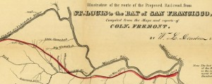 A map illustrative of the route of the proposed railroad : from St. Louis to the Bay of San Francisco Proposed Railroad Route from St Louis to San Francisco (1850) Date: 1850 Author: W L Dearborn Dwnld: Full Size (4.86mb) Source: Library of Congress Print Availability: See our Prints Page for more details pff This map isn't part of any series, but we have other railroad maps that you might...