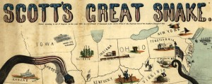 Scott's great snake Civil War Map: Scott's Great Snake (1861) Date: 1861 Author: J B Elliott Dwnld: Full Size (4.93mb) Source: Library of Congress Print Availability: See our Prints Page for more details pff This map isn't part of any series, but we have other maps of the U.S. Civil War that you might want to check out. Here's a fairly famous Civil War-era map that pops up in textbooks...