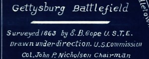 Gettysburg battlefield Surveyed 1863 by E. B. Cope Survey of the Battlefield of Gettysburg (1863) Date: 1863 Author: Cope Dwnld: Full Size (2.41mb) Source: Library of Congress Print Availability: See our Prints Page for more details pff This map isn't part of any series, but we have other maps of 1860s,the U.S. Civil War that you might want to check out. Map of the U.S. Civil War battlefield of Gettysburg [gmap]...