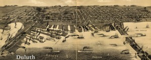 Perspective map of Duluth, Minn. 1887. Drawn by H. Wellge. Wellge's map of Duluth (1887) Date: 1887 Author: Henry Wellge Dwnld: Full Size (13.82mb) Source: Library of Congress Print Availability: See our Prints Page for more details pff This map isn't part of any series, but we have other maps of Minnesota that you might want to check out. Henry Wellge's birdseye map of Duluth, Minnesota [gmap] in 1887. For more...