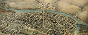 Bird's eye view of Pendleton, Umatilla County, Ore. Lith. Dakin Pub. Co. Birdseye map of Pendleton, Oregon (1890) Date: 1890 Author: E. Oregonian Pub Co Dwnld: Full Size (12.08mb) Source: Library of Congress Print Availability: See our Prints Page for more details pff This map isn't part of any series, but we have other maps of Oregon that you might want to check out. The East Oregonian Publishing Co.'s birdseye...