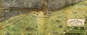 Bird's eye view of Chicago, 1893. Roy's map of Chicago (1892) Date: 1892 Author: Peter Roy Dwnld: Full Size (15.96mb) Source: Library of Congress Print Availability: See our Prints Page for more details pff This map isn't part of any series, but we have other maps of Illinois that you might want to check out. Peter Roy's birdseye map of Chicago, Illinois [gmap] in 1892. For more map resources and imagery...