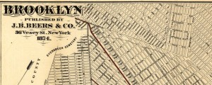Brooklyn Brooklyn City Railroad Map (1874) Date: 1874 Author: J B Beers and Co Dwnld: Full Size (13.62mb) Source: Library of Congress Print Availability: See our Prints Page for more details pff This map isn't part of any series, but we have other maps of New York City that you might want to check out. A competent and entirely servicable street map of Brooklyn [gmap]. For more map resources and imagery...