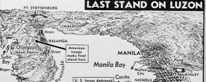 "The U.S. Army Signal Corps' map: ""Last Stand on Luzon"". From 1943. Last Stand on Luzon Date: 1943 Author: U.S. Army Signal Corps Dwnld: Full Size (1.4mb) Print Availability: See our Prints Page for more details pff This map isn't part of any series, but we have other featured maps that you might want to check out. U.S. Army map of the Battle of Luzon."